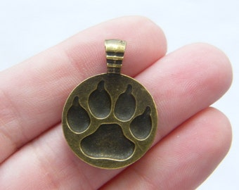 6 Paw  print pendants antique bronze tone BC81