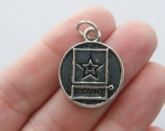2 US Army charms antique silver tone G8