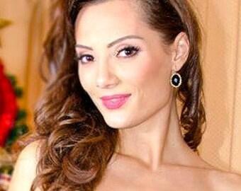 Onyx crochet earrings, black and gold earrings, luxe jewelry
