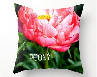 PEONY PILLOW Made to Order decorative throw pillow, scatter cushion, peony decor, peony cushion, pillow cover, cushion cover,
