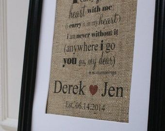 Free US Shipping...i carry you in my heart...Personalized Wedding or Valentines Burlap Print...great wedding or anniversary gift!