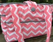 Large Bag- Diaper Bag- Work Bag- School Bag- Travel Bag, with coral and white chevron