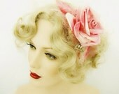 Pink satin rose fascinator headband millinery flower