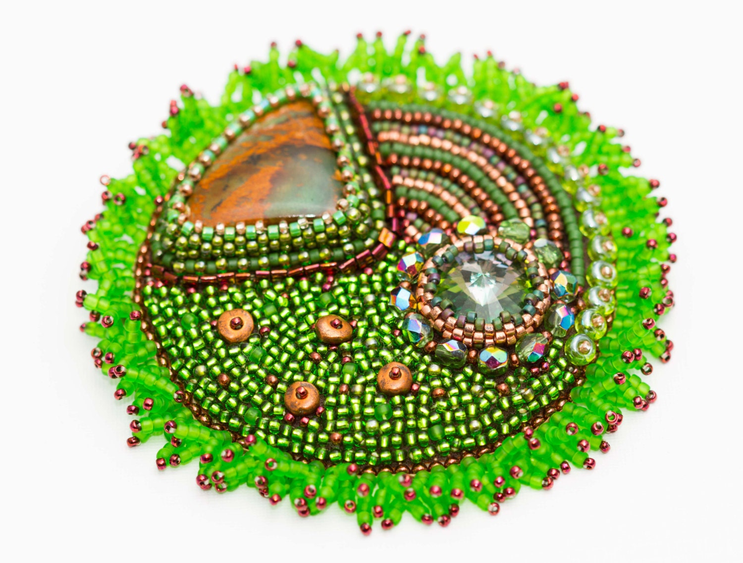 Bead embroidered brooch Grass green brooch Spring green Earthy jewelry Green and brown