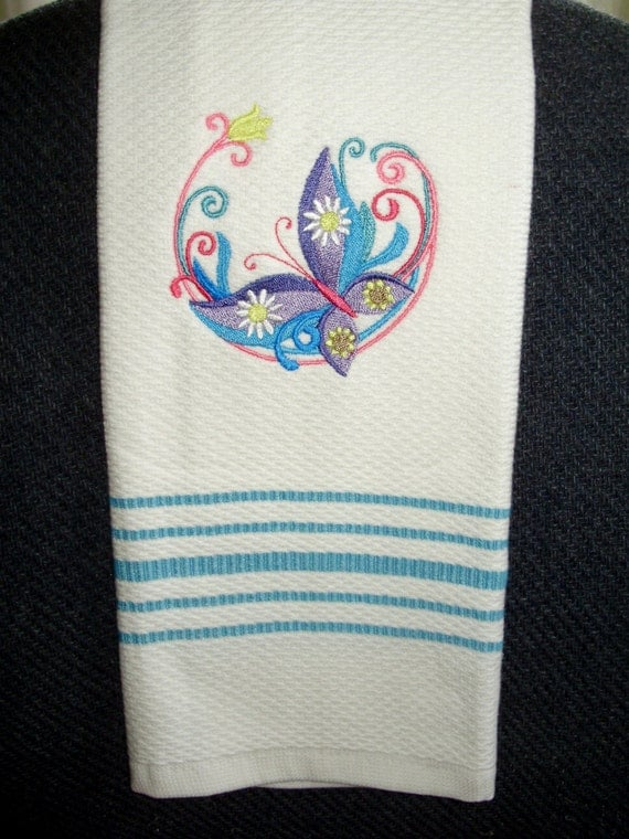 machine embroidery designs for kitchen towels machine embroidered towel kitchen white with blue stripes 9717