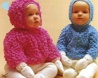 SALE*** Baby KNITTING PATTERNS - Cardigans/Jackets - Bobble and Loopy knit, matching hats, mitts and longies/leggings