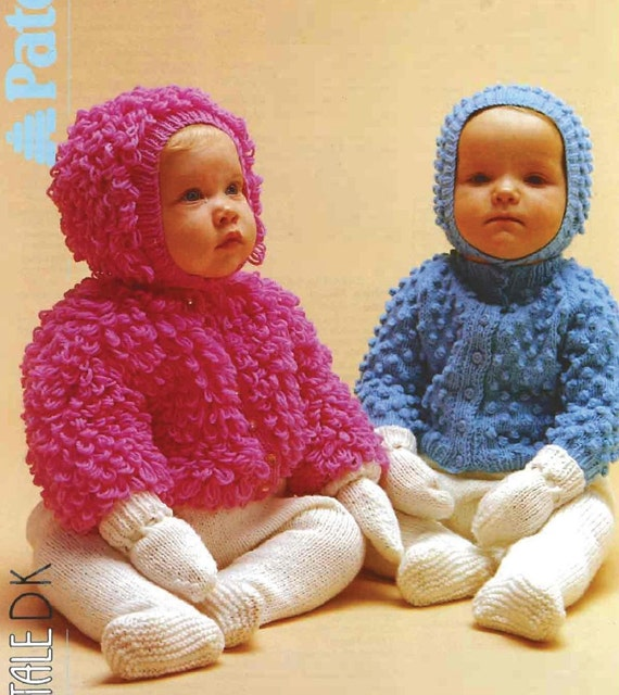 SALE*** Baby KNITTING PATTERNS - Cardigans/Jackets - Bobble and Loopy knit, m...