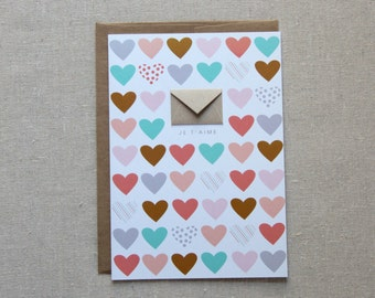 Valentine Card Je T'aime Coral - Tiny Envelopes Card