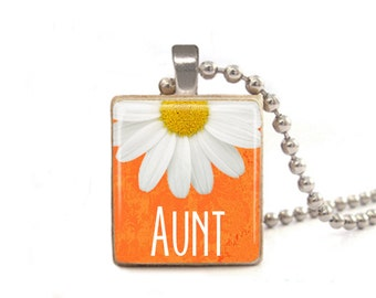 Orange Aunt Necklace | Gift for Aunt | Sister Necklace | New Aunt Gift | Flower Necklace | Auntie Necklace | Aunt Pendant | Sister in Law
