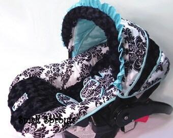 London Aqua Blue Infant Car Seat Cover 5 piece set