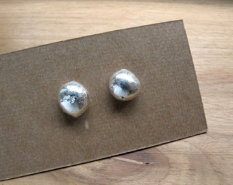 Recycled sterling silver earrings studs - 7mm pebble studs handmade jewelry organic art - Unique gift artisan jewelry minimalist style