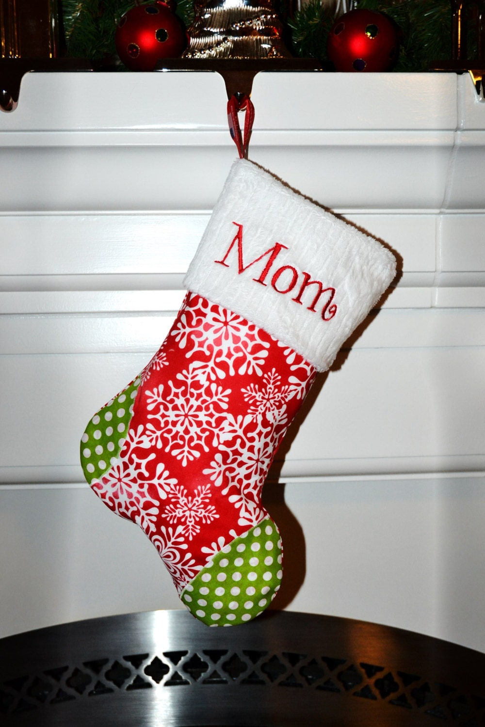 Personalized christmas stockings embroidered a handmade for Custom made christmas stockings