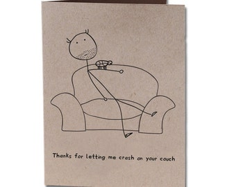 Thank You Humor Greeting Card Couch Crasher