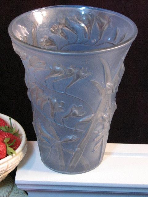Vintage Phoenix Glass Freesia Blue Vase 1930s Art Glass