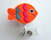 Colorful Fish - Retractable ID Badge Reel - Teacher Badge Holder - Cute Badge Reel - Nurse Badge Holder - Nursing Badge Clip - Felt Badge