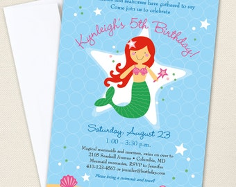 Mermaid Party Invitations  - Professionally printed *or* DIY printable - Choose your own mermaid