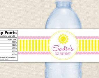 Sunshine Party - 100% waterproof personalized water bottle labels