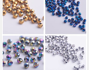 200pcs 4X4mm Round Facted Crystal Glass Charms Loose Spacer Beads Jewelry Making Crafts Findings --- 21 colors YZ002