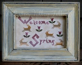 Welcome Spring Framed Cross Stitch, Tulips Rabbits Primitive Spring Sampler, Rustic Cross Stitch Sampler, Hand Embroidered Stitchery