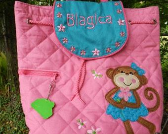 Personalized monogram Stephen Joseph quilted girl monkey backpack/diaper bag/baby shower gift