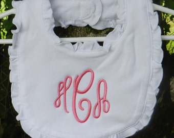 Personalized monogram girl ruffle baby bib/baby shower gift