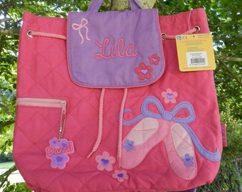 Personalized monogram girl ballet Stephen Joseph quilted backpack,diaper bag,dance bag,baby shower gift