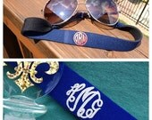 Monogram Sunglass Straps | Croakies | Monogram Gift | New Coral and Mint Color | Glitter Vinyl Now Available