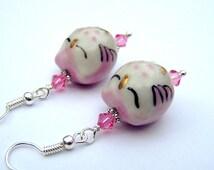 Pink Owl Earrings Owl Jewelry Sleeping Owls Kawaii Girls Earrings Girls Gift for Her