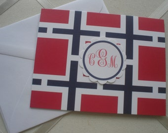 Tailored Red and Navy  Notecards Set of Five