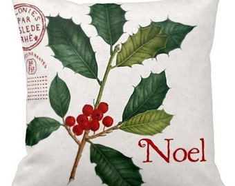 Christmas Holiday Pillow Red Holly Noel Christmas Decor Cotton and Burlap Pillow