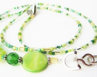 Green Lanyard ID Badge Prayer Blessing Bead Gratitude Coworker Magnetic Safety Clasp Gift Nurse Charm Love Joy