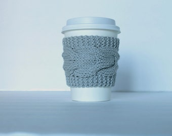 Gray Coffe Cup Cozy, Grey Cup Sleeve, Coffee Tea, Charcoal Twilight Silver Dark Ash Cloud, Earth Neutral, Knitted Cabled