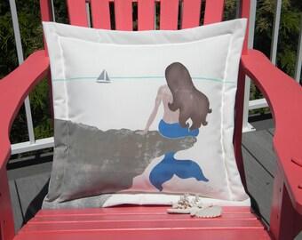 "Outdoor pillow WISTFUL MERMAID 20"" ocean coastal seaside beach merfolk seashore fantasy sailing shelling beachcombing Crabby Chris Original"