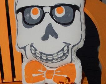 "Halloween pillow NERDY nerd skull outdoor skeleton geek braces orthodontics bones autumn 12""x18"" Crabby Chris Original design"