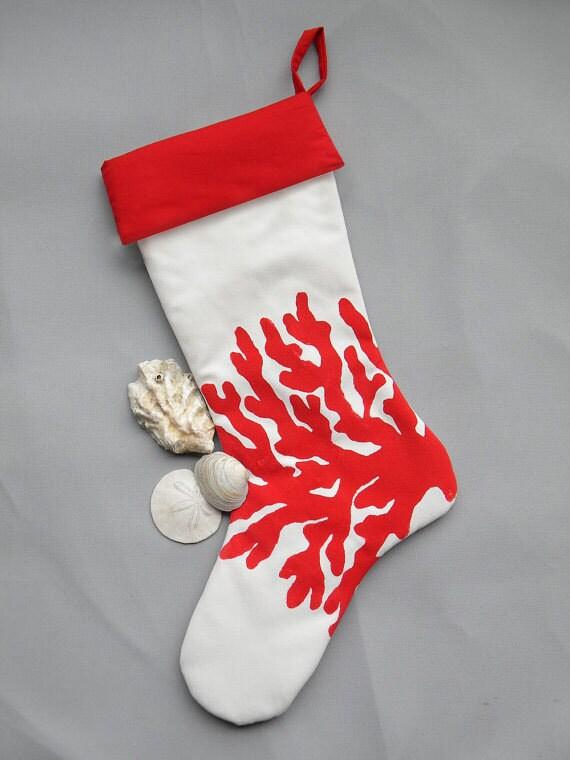 "CORAL CHRISTMAS STOCKING 24"" (61cm) red ocean shell shelling coastal tropical beach ocean sea seashore reef Crabby Chris Original"