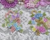Lace Flower Basket Hand Dyed Venise Embellishment Crazy Quilt Applique