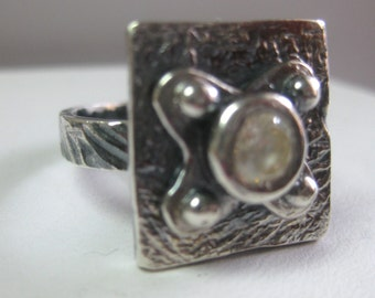 Sterling Silver Precious Metal Clay Ring w/Citrine Stone Size 8.5