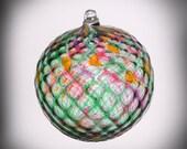 HAND BLOWN GLASS Christmas Ornament Suncatcher Ball Faceted Pattern