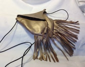 Gold Metallic Leather pouch with fringe leopard lining brown leather strap  crossbody bag