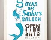Sirens and Sailors, Linocut Letterpress Poster