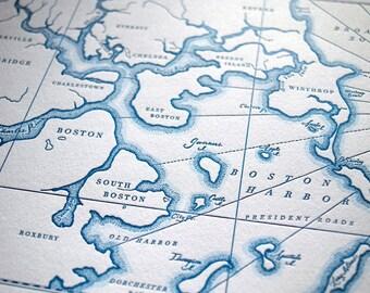 Historic Boston Harbor, Letterpress Map Art Print (Nautical Blue)