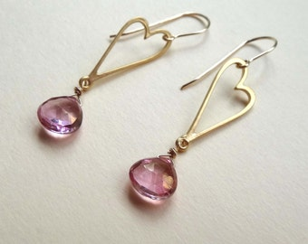 gemstone earrings, pink earrings, pink and gold earrings, pink mystic quartz earrings, pink quartz heart earrings, valentine's day, handmade