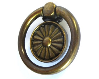 Chunky Brass Drawer Pull Vintage 1970's - 1980's Hardware