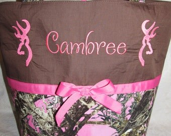 pink Camo buck diaper bag pink true timber camouflage camo buck deer diaper bag or tote your choice name or initials