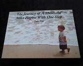 """Inspirational Photo Card  - Child on Beach - Touching -""""The Journey of a Thousand Miles Starts with a Single Step"""""""