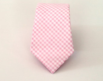 "Men's Tie - Pale Pink Mini Gingham - Tiny Plaid Checkered Necktie in Light Pink and White - Slim 3""- Extra Long 62"" Tall - In Stock necktie"