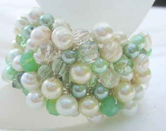Minty Green Chunky Pearl Crystal Bridal Statement Cuff, Wide Width with Crystals, Bridesmaid Gift, Exclusive Sereba Designs on Etsy