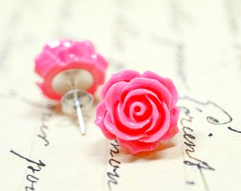 Large Hot Pink Rose Earrings, Shabby Chic Stud Earrings, Retro Jewelry / Cottage Chic Pink Earrings / The Rosie