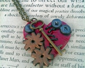 Broken Hearts Can Be Mended Clockwork Heart Pendant with Key Charm Red Heart Necklace
