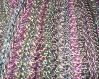 Scarf - Hand Knit Infinity Scarf/Cowl - Lace in Purples and Greens with some gray and tan